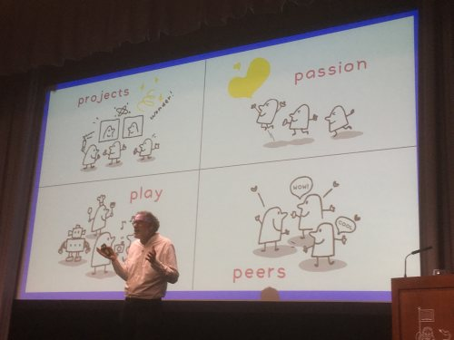 Mitch Resnick delivers his keynote in front of a slide that says Projects, Passion, Play, Peers