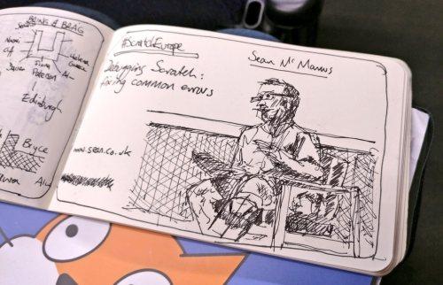 Sketch of me delivering my talk