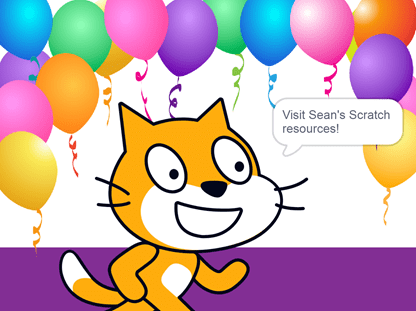 Scratch cat with balloons invites you to visit my Scratch resources