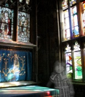 Photo of Gloucester Cathedral stained glass windows, with a ghost of a small girl in the foreground
