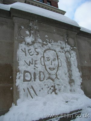 Obama's face carved in snow on Widdener Library
