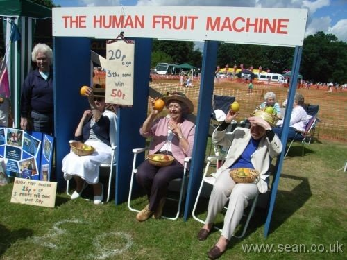 Photo of three ladies holding up random pieces of fruit