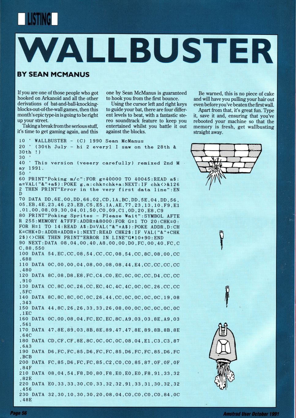 Scan of a magazine page showing the code listing for the Wallbuster program