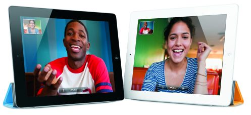 two iPads running Facetime to show video conferencing
