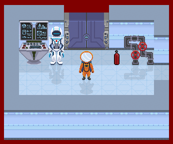 Screengrab from Mission Python, showing the astronaut in the space station