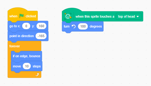 Scratch code using the Face Recognition feature