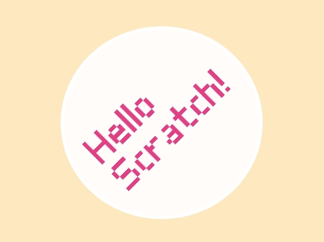 Hello Scratch! text, drawn using the new Scratch blocks