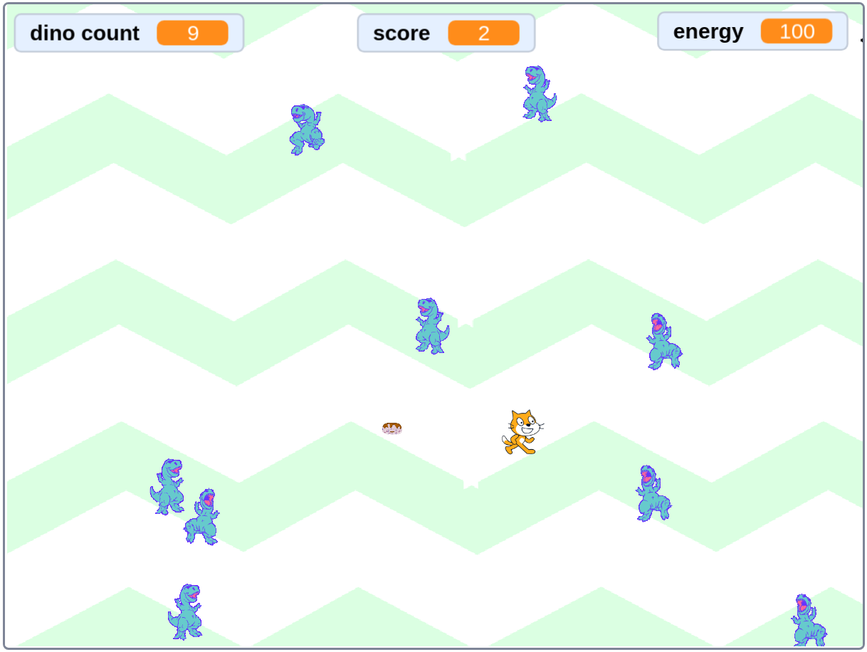 Feeding Time screenshot from Scratch Programming in Easy Steps