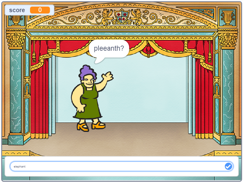 Gran Ama's Anagrams Quiz screenshot from Scratch Programming in Easy Steps