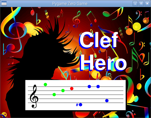 Clef Hero game on Raspberry Pi